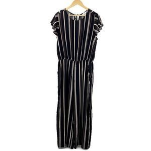 Time and Tru Striped Jump Suit Size L Short Sleeve